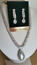 SPECIAL OCCASION & BRIDAL CUBIC ZIRCONIA PENDANT NECKLACE & EARRING SET