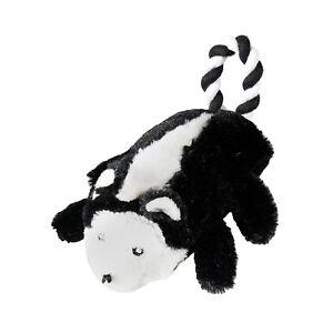 "Kristin Knight Pet plush Skunk rope hard center 11"" NO squeaker dog toy"
