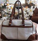 Coach Hampton Medium Ivory Beige Leather Trim Satchel Handbag Purse F11198 EUC
