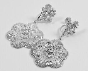 Beautiful Antique Pair Sterling Silver Drop Filigree Flower Earrings Screw Back