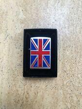 Genuine Zippo Lighter UK UNION JACK Design Brushed Chrome Exclusive Brand New
