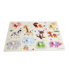Funny Baby Kids Animal Wooden Attractive Early Learning Hand Puzzle Plate Toy CA
