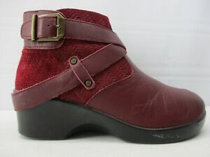 ALEGRIA EVA  WOMEN'S RED WINE LEATHER SIDE ZIP CLOGS ANKLE BOOTS  EU 39  US 9
