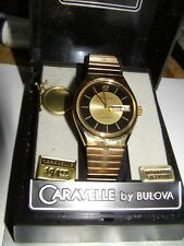VINTAGE NOS CARAVELLE BY BULOVA AUTOMATIC MENS GOLD WATCH 17 JEWEL MIB ORIGINAL