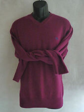 BURBERRY LONDON Sweater Large Maroon Purple Vneck Pullover Lambswool Italy