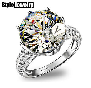 18k White Gold Filled 4.75 Carat Stone Wedding Engagement Ring Size 9 SR103