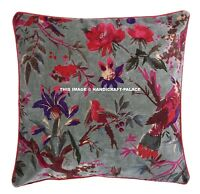 Velvet Cushion Cover Bird Floral Printed Sofa Cover Ethnic Indian Home Decor