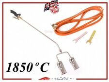 Long Arm Propane Butane Gas Heating Torch Burner Hose Regulator Roofers WEED Kit