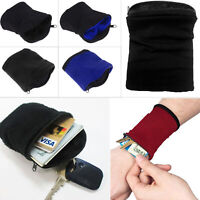 Muñequera Brazalete Fleece Sport Pouch Band Cremallera Running Travel Gym
