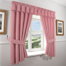 GINGHAM KITCHEN CURTAINS & TIE BACKS,FULLY WASHABLE IN 3 GREAT COLOURS.