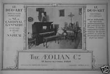 PUBLICITÉ 1924 THE AEOLIAN LE DUO-ART LE CARDINAL GASPARRI SECRÉTAIRE - AD