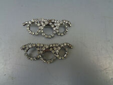 VINTAGE MUSI VICTORIAN CLEAR RHINESTONE SHOE BUCKLE CLIPS