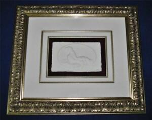 Bas Relief Nude Print, Signed MMC, Matted & Framed