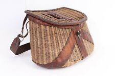 Vintage Wicker Leather Fishing Creel Basket Shoulder Strap