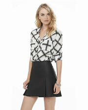 NEW EXPRESS BLACK & WHITE DIAMOND THE PORTOFINO SHIRT BLOUSE SZ XS EXTRA SMALL