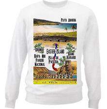 CHILE EASTER ISLAND - NEW WHITE COTTON SWEATSHIRT
