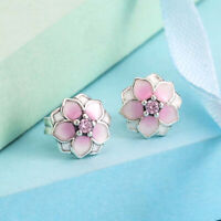 Authentic 100% 925 Sterling Silver Magnolia Blooms Pink Enamel Earrings
