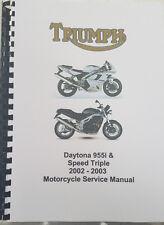 TRIUMPH DAYTONA 955i & SPEED TRIPLE 2002 - 2003 SERVICE WORKSHOP MANUAL REPRINT