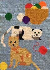 Vintage 1994 HANDMADE Crocheted AFGHAN THROW BLANKET Cat Yarn Themed 40x60