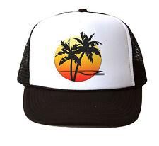 Palm Tree Trucker Snapback Hat Cap Cali New - White/Black