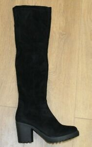 Krush Ladies Black Knee Boots With Black Block Heel Brand New In Box