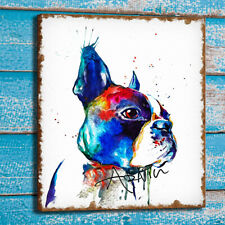 Home Wall Decor Art Canvas Print Boston Terrier Watercolor Animal Painting 24x30