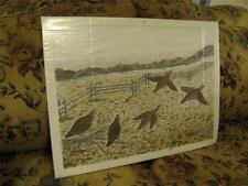 Original Outsider Art Oil Painting Fence Line Grouse Birds, Millikin