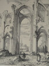 Litho 1840 ABBAYE SAINT WANDRILLE FONTENELLE SOLESMES NORMANDIE SEINE MARITIME
