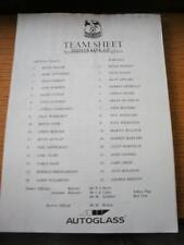12/08/1997 Teamsheet: Crystal Palace v Barnsley (Folded). No obvious faults, unl