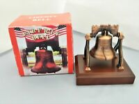 Liberty Bell Figurine – Metal On A Wood Stand - Cooper Color - Collectible