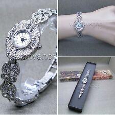 Silver Marcasite Watch Women Japan Quartz Brass Bracelet Stainless Steel back 12