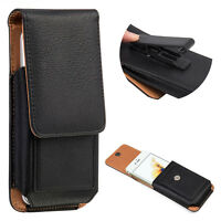 Leather Belt Pouch Case Cover Wallet Holster Belt Clip For iPhone 7 Plus Black