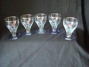 5 x  Vintage Shot Sherry Liqueur Glasses Blue Chicken Design