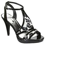 Velvet Heart Womens Spotted Multi Black High Heel Sandals Size 6.5 M