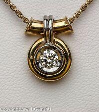 "Platinum 18K Yellow Gold .30 ct Solitaire Diamond Pendant Slide Necklace 16"""