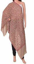 Cashmere Pashmina Pure Handmade Embroidered Ethnic Warm Fashion Brown Luxury
