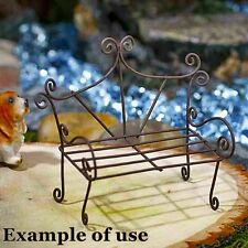 "Fancy Miniature Wire Garden Bench 4 Fairy Garden or Dollhouse Black 2.5"" x 2"""