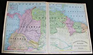 CRAM'S ATLAS MAP PAGE SOUTH AMERICA (NORTHERN PART) 1899 VINTAGE BOLIVIA BRAZIL