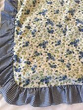 Rare Laura Ashley Pair Standard Shams Ruffle Blue Daisies Floral Country Gingham