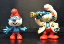 Papa Smurf - Original & Captain with Telescope Lot SCHLEIGH PEYO