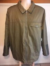 Vintage Adidas Jacket Army Green Men's XL Coat Black 3 Stripe Quilted Lining