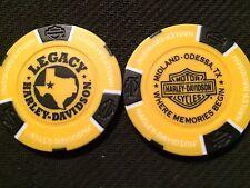 Harley Davidson Poker Chip (Yellow & Black) Legacy Midland-Odessa, Texas