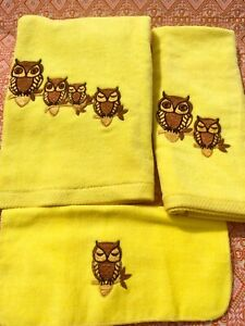 Embroidered Owls! 3-Piece Set of  Vintage MARTEX Plush Cotton Bath Towels