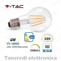 Lampadina led V-TAC dimmerabile 4W E27 bianco caldo 2700K VT-1885D A60 globo