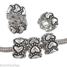 10Mixte Perles Métal Couer Forme Européen Charm Noël Cadeau Pr Bracelet 7x12mm
