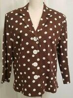 Linen Blend Jacket Coldwater Creek Women's Top Brown White Dot Easter SZ 16