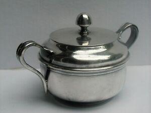 WWII USN Navy Silver Plate #1375 Handled Sugar Bowl w/ Lid