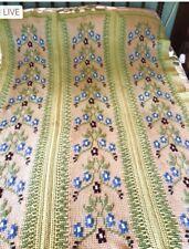 "Vtg Handmade Crochet Knit Afghan Blanket Throw Floral Sage Green Tan 72"" x 58"""