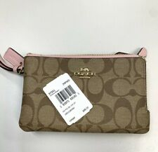 Authentic Coach F87591 Double Corner Zip Wristlet Wallet Black