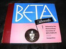 BETA RECORDS 1950 78 rpm Souvenir Set BETA THETA PI Song Competition 5 Records